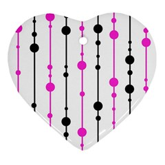 Magenta, black and white pattern Heart Ornament (2 Sides)