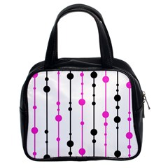 Magenta, black and white pattern Classic Handbags (2 Sides)