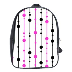 Magenta, black and white pattern School Bags(Large)