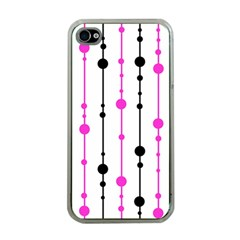 Magenta, black and white pattern Apple iPhone 4 Case (Clear)