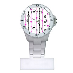Magenta, black and white pattern Plastic Nurses Watch