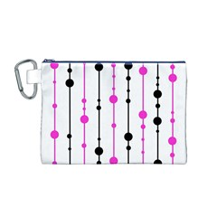 Magenta, black and white pattern Canvas Cosmetic Bag (M)