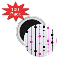 Magenta, black and white pattern 1.75  Magnets (100 pack)