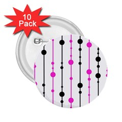 Magenta, black and white pattern 2.25  Buttons (10 pack)