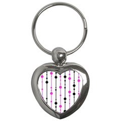 Magenta, black and white pattern Key Chains (Heart)