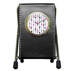 Magenta, black and white pattern Pen Holder Desk Clocks