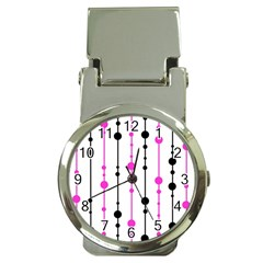 Magenta, black and white pattern Money Clip Watches
