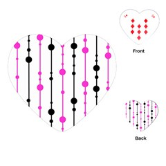 Magenta, black and white pattern Playing Cards (Heart)