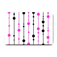 Magenta, black and white pattern Small Doormat
