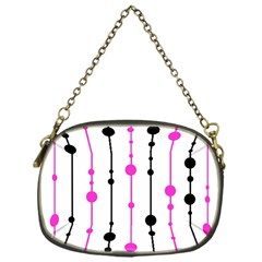 Magenta, black and white pattern Chain Purses (One Side)