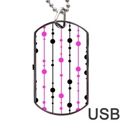 Magenta, black and white pattern Dog Tag USB Flash (One Side)