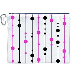Magenta, black and white pattern Canvas Cosmetic Bag (XXXL)