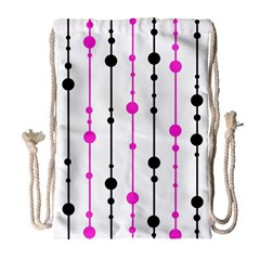 Magenta, black and white pattern Drawstring Bag (Large)