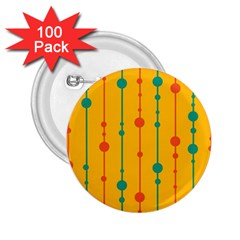 Yellow, green and red pattern 2.25  Buttons (100 pack)