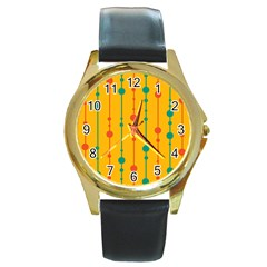 Yellow, green and red pattern Round Gold Metal Watch