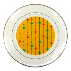 Yellow, green and red pattern Porcelain Plates