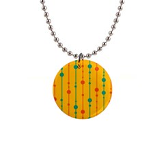 Yellow, green and red pattern Button Necklaces