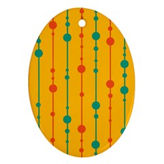 Yellow, green and red pattern Oval Ornament (Two Sides)