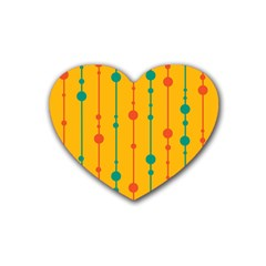 Yellow, green and red pattern Heart Coaster (4 pack)