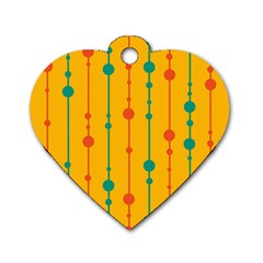 Yellow, green and red pattern Dog Tag Heart (One Side)