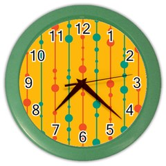 Yellow, green and red pattern Color Wall Clocks