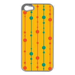 Yellow, green and red pattern Apple iPhone 5 Case (Silver)