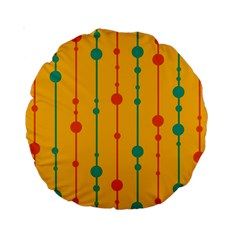 Yellow, green and red pattern Standard 15  Premium Round Cushions