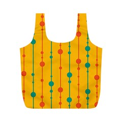 Yellow, green and red pattern Full Print Recycle Bags (M)