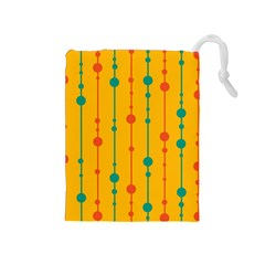 Yellow, green and red pattern Drawstring Pouches (Medium)