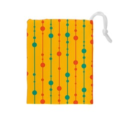 Yellow, green and red pattern Drawstring Pouches (Large)