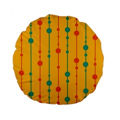 Yellow, green and red pattern Standard 15  Premium Flano Round Cushions