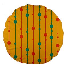 Yellow, green and red pattern Large 18  Premium Flano Round Cushions