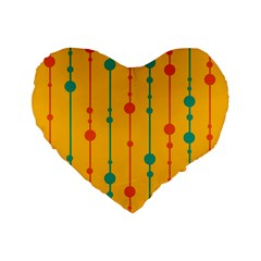 Yellow, green and red pattern Standard 16  Premium Flano Heart Shape Cushions