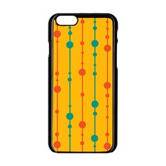 Yellow, green and red pattern Apple iPhone 6/6S Black Enamel Case