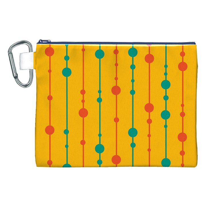 Yellow, green and red pattern Canvas Cosmetic Bag (XXL)