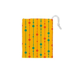 Yellow, green and red pattern Drawstring Pouches (XS)
