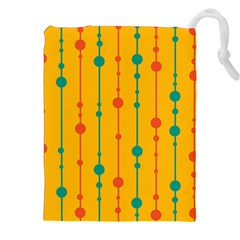 Yellow, green and red pattern Drawstring Pouches (XXL)