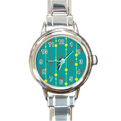Green, yellow and red pattern Round Italian Charm Watch