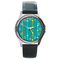 Green, yellow and red pattern Round Metal Watch