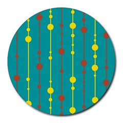 Green, yellow and red pattern Round Mousepads