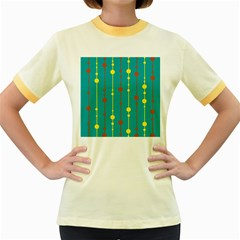 Green, yellow and red pattern Women s Fitted Ringer T-Shirts