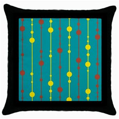 Green, yellow and red pattern Throw Pillow Case (Black)