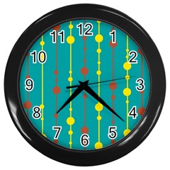 Green, yellow and red pattern Wall Clocks (Black)