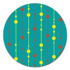 Green, yellow and red pattern Magnet 5  (Round)