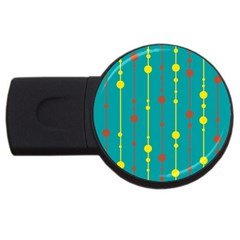 Green, yellow and red pattern USB Flash Drive Round (1 GB)