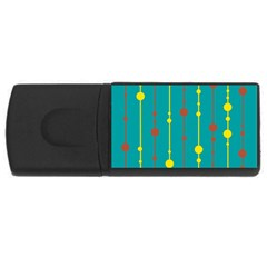 Green, yellow and red pattern USB Flash Drive Rectangular (1 GB)