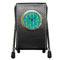 Green, yellow and red pattern Pen Holder Desk Clocks