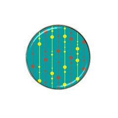 Green, yellow and red pattern Hat Clip Ball Marker (4 pack)