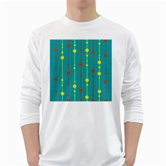 Green, yellow and red pattern White Long Sleeve T-Shirts