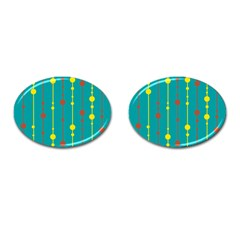 Green, yellow and red pattern Cufflinks (Oval)